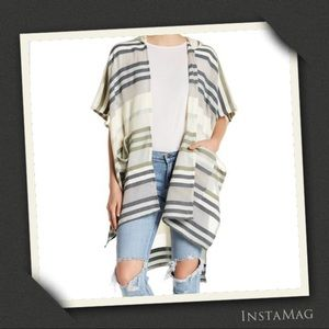 MICHAEL STARS Sand Striped Cape with Hood